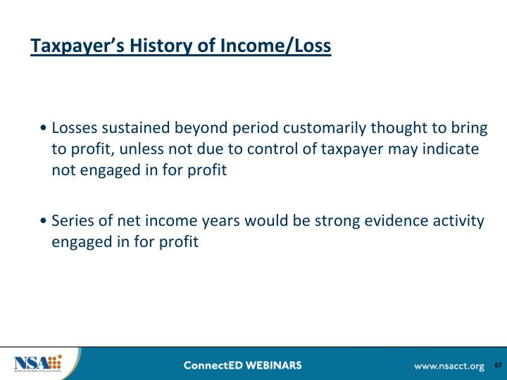 Taxpayer's History of Income/Loss