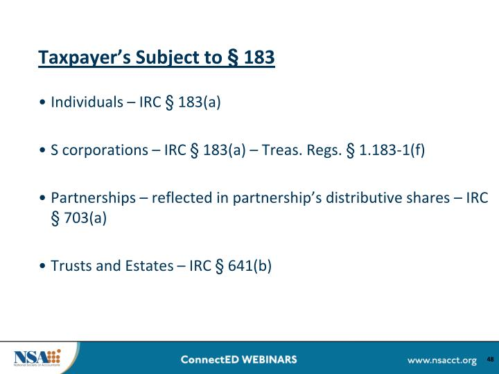 Taxpayer's Subject to § 183