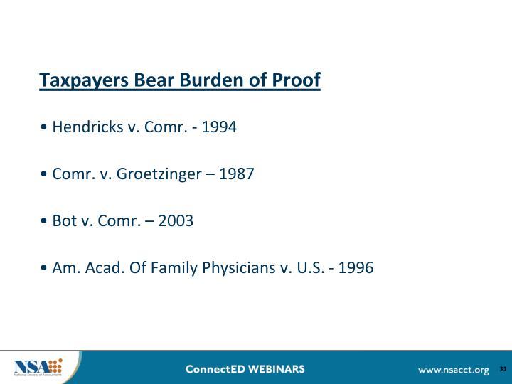 Taxpayers Bear Burden of Proof