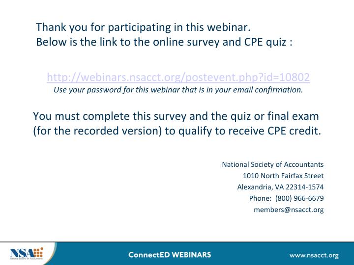 Thank you for participating in this webinar.