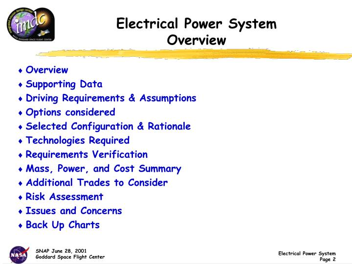 Electrical power system overview