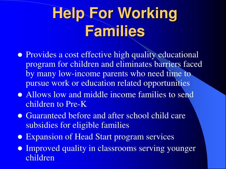 Help For Working Families
