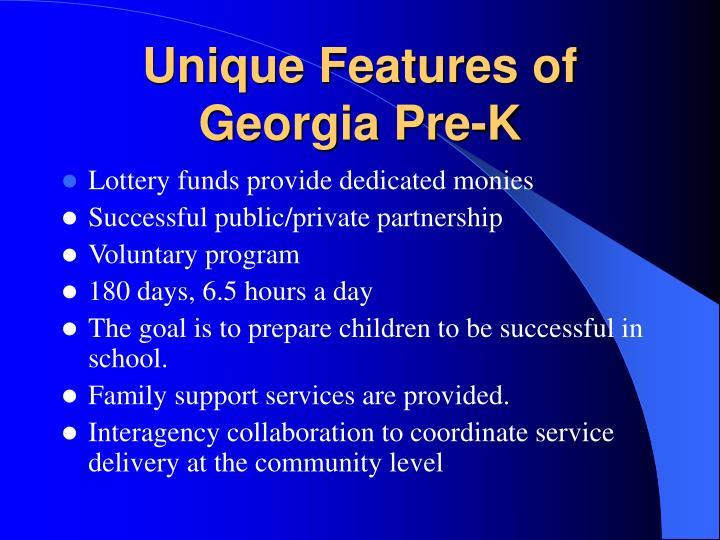 Unique Features of Georgia Pre-K