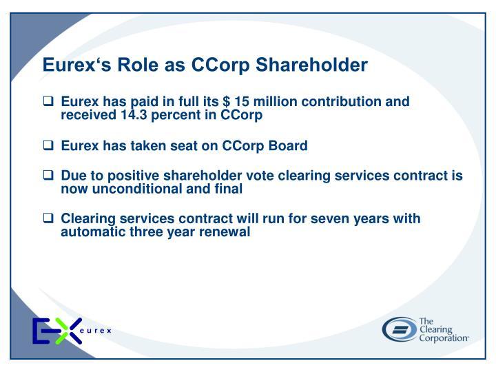 Eurex's Role as CCorp Shareholder