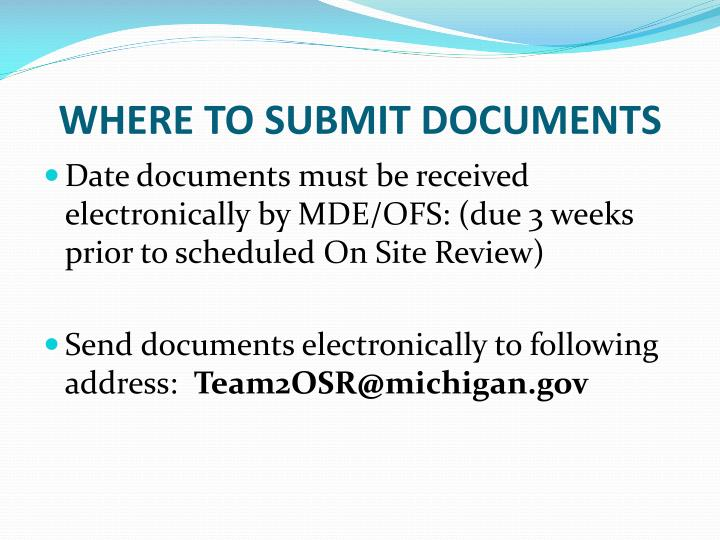 WHERE TO SUBMIT DOCUMENTS