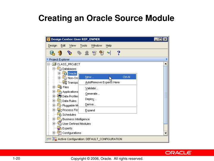 Creating an Oracle Source Module