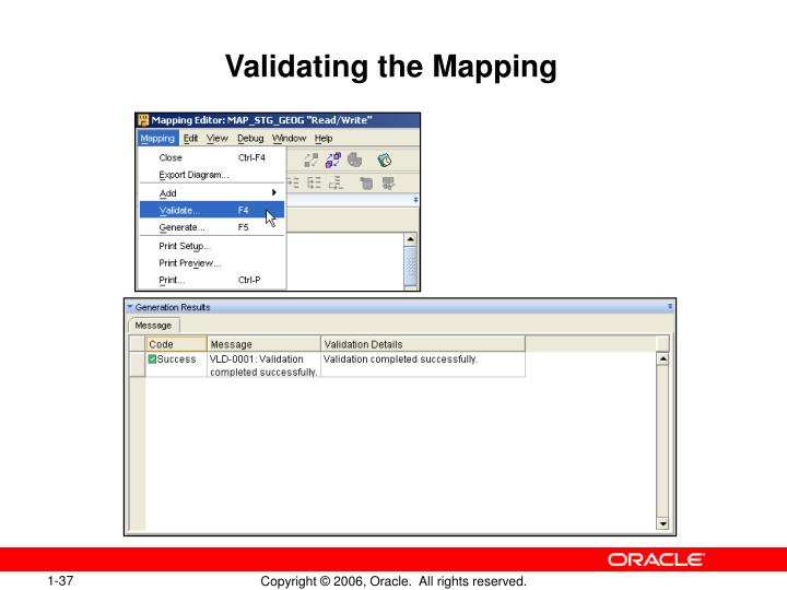 Validating the Mapping