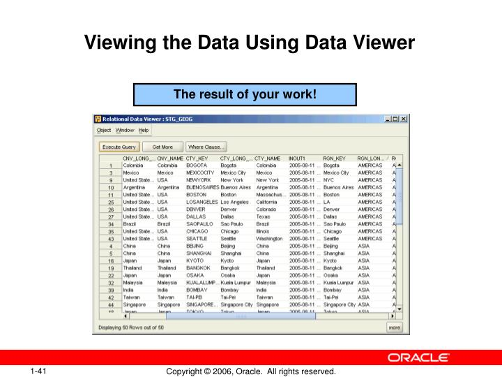 Viewing the Data Using Data Viewer