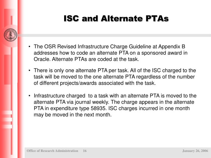 ISC and Alternate PTAs