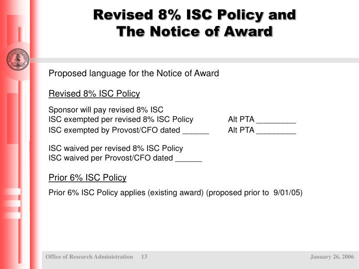 Revised 8% ISC Policy and