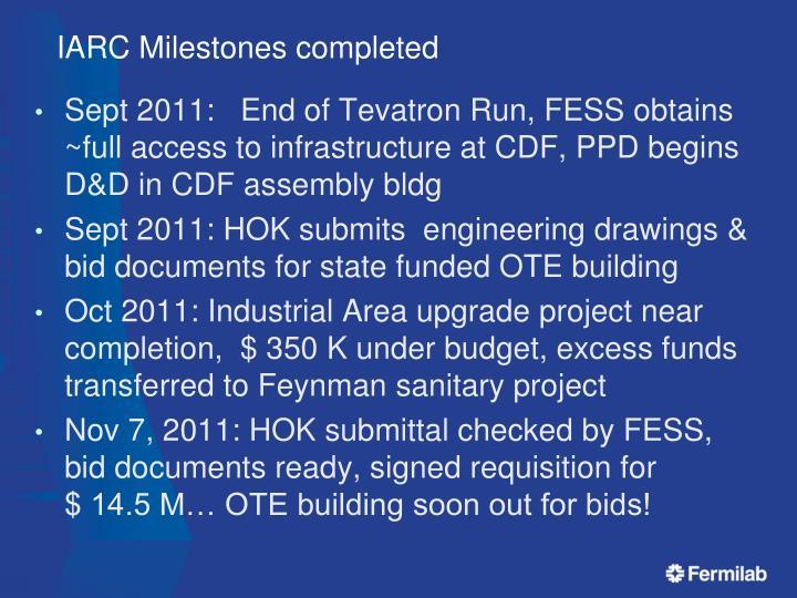 Iarc milestones completed