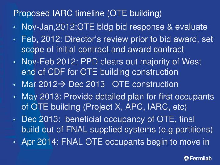 Proposed iarc timeline ote building