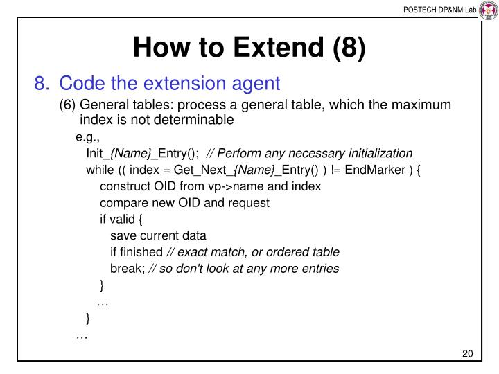How to Extend (8)