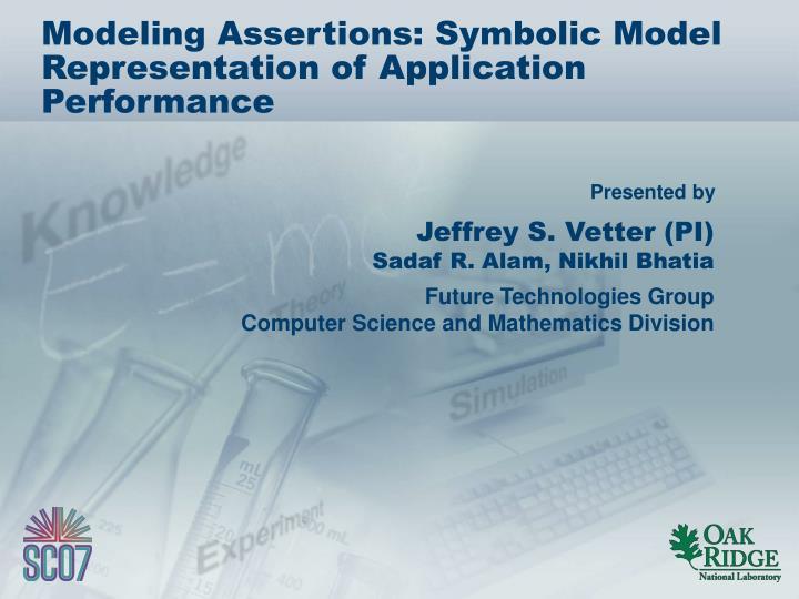 modeling assertions symbolic model representation of application performance n.