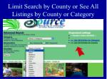 limit search by county or see all listings by county or category