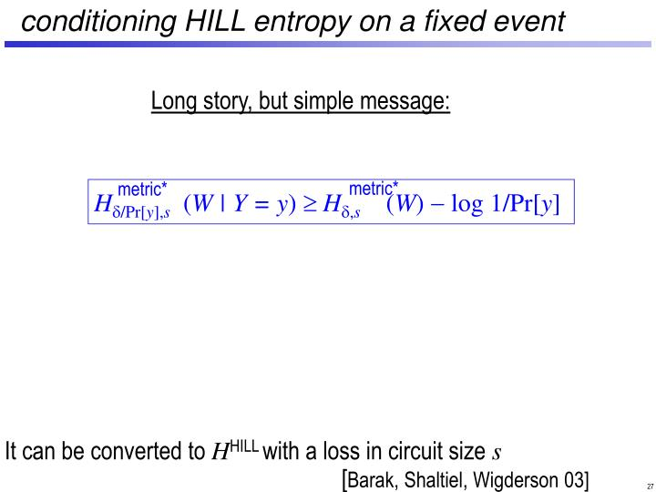 conditioning HILL entropy on a fixed event