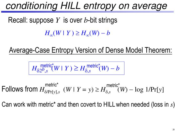conditioning HILL entropy on average