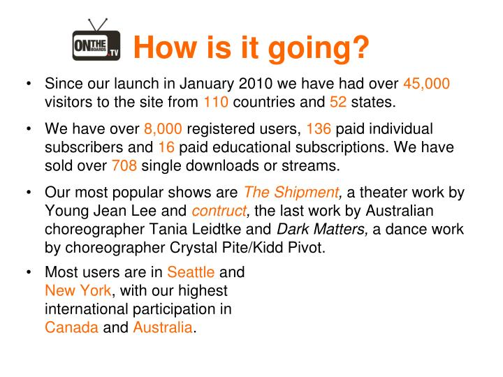 Since our launch in January 2010 we have had over