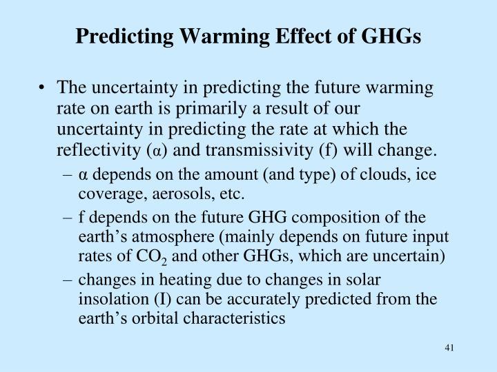 Predicting Warming Effect of GHGs