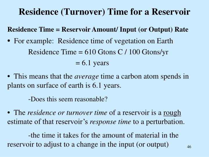 Residence (Turnover) Time for a Reservoir