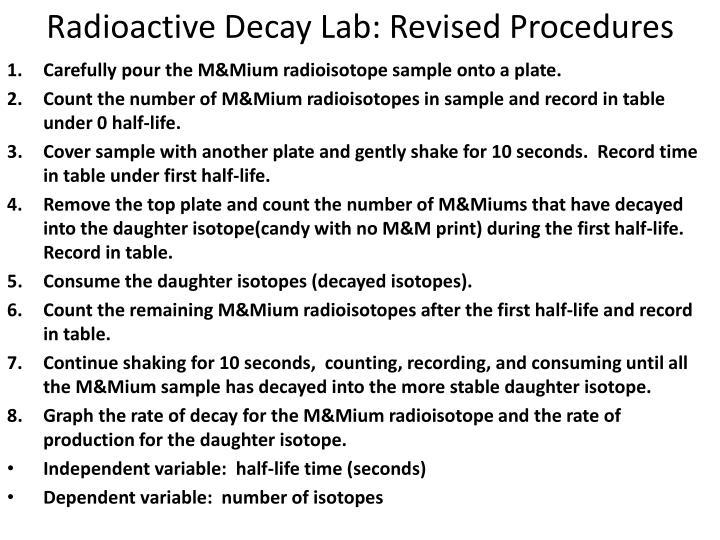Radioactive Decay Lab: Revised Procedures
