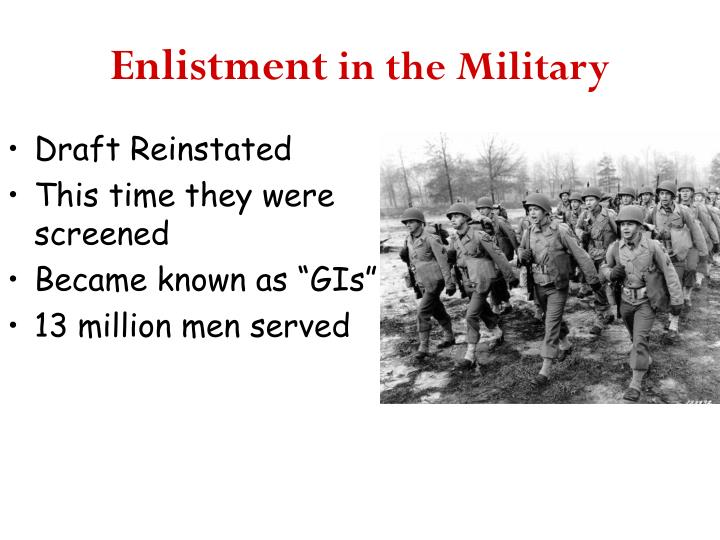 Enlistment in the military