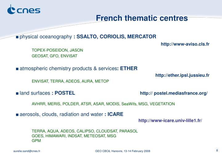 French thematic centres