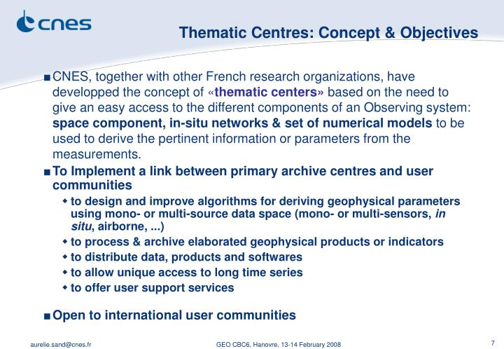 Thematic Centres: Concept & Objectives