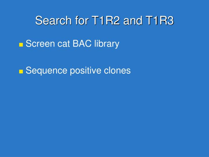 Search for T1R2 and T1R3