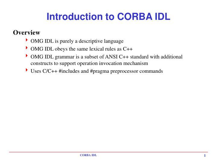 introduction to corba idl n.