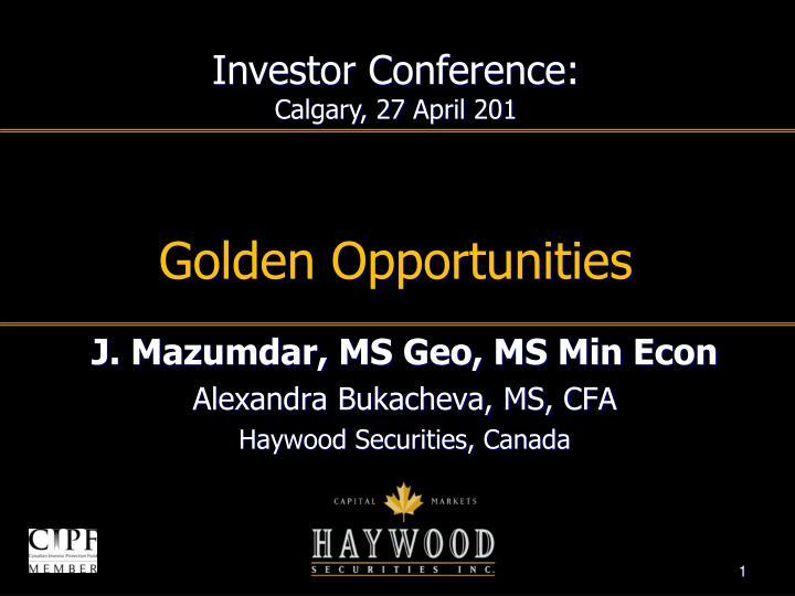golden opportunities n.