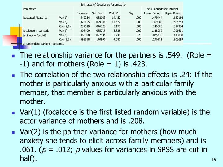The relationship variance for the partners is .549.  (Role = -1) and for mothers (Role = 1) is .423.