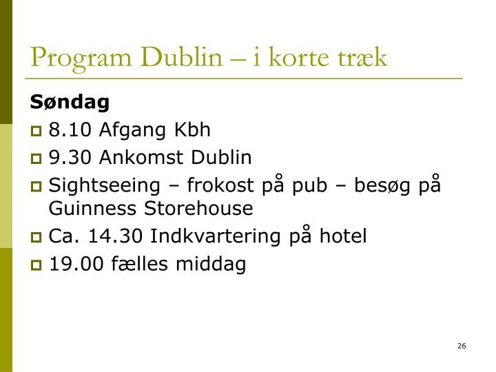 Program Dublin – i korte træk