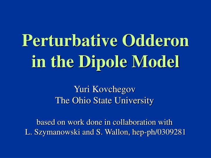 Perturbative odderon in the dipole model