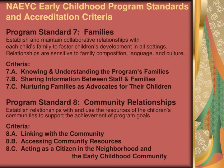 NAEYC Early Childhood Program Standards and Accreditation Criteria