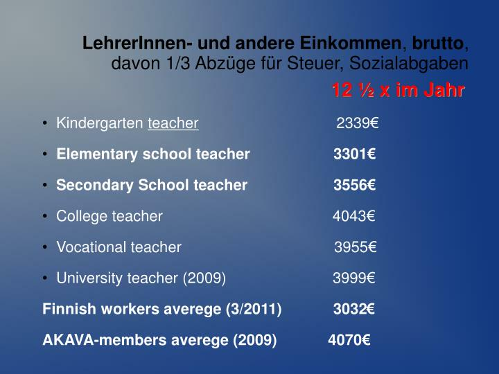 LehrerInnen- und andere Einkommen