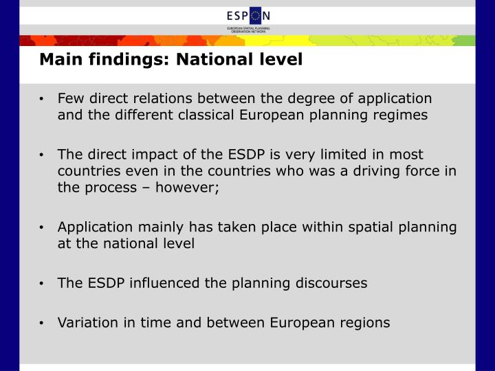 Main findings: National level