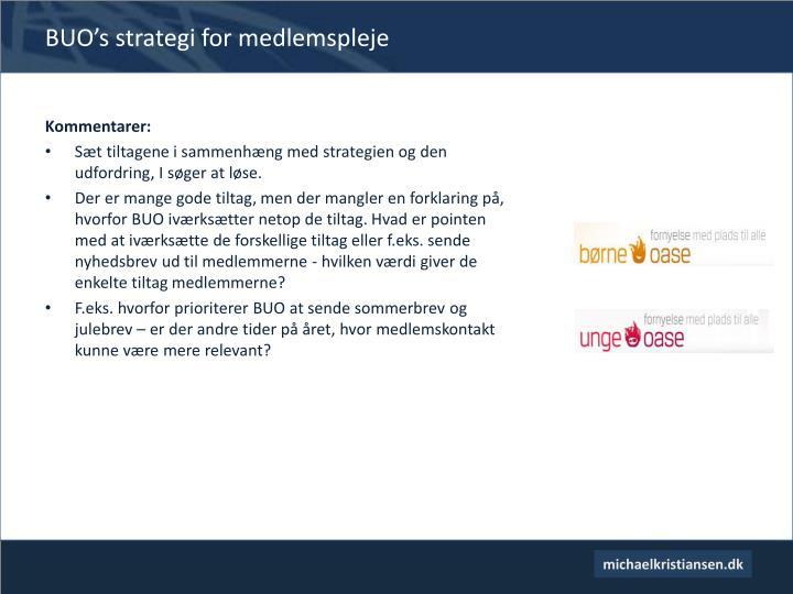 BUO's strategi for medlemspleje