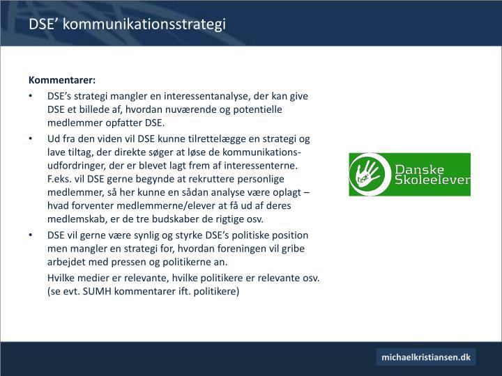 DSE' kommunikationsstrategi