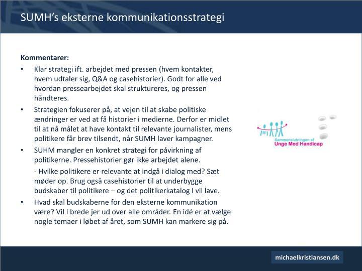 Sumh s eksterne kommunikationsstrategi