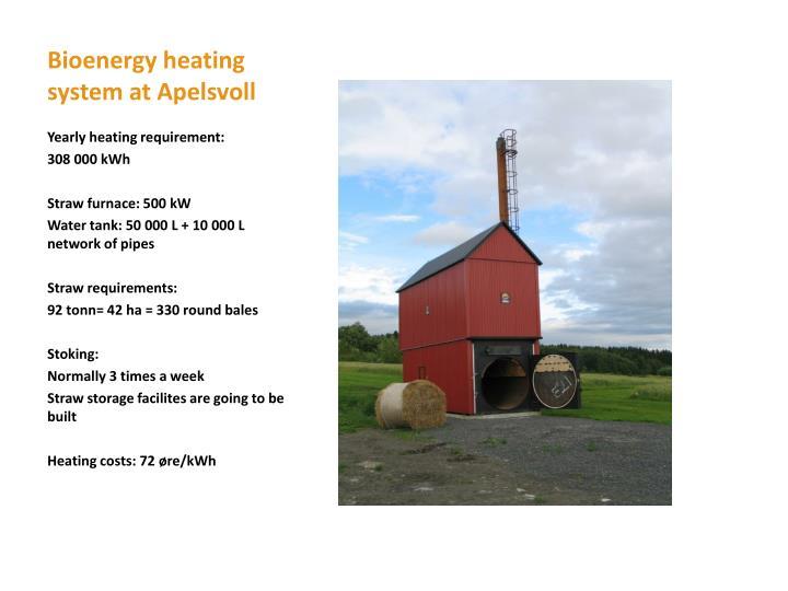 Bioenergy heating system at Apelsvoll
