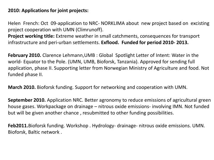 2010: Applications for joint projects: