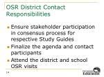 osr district contact responsibilities