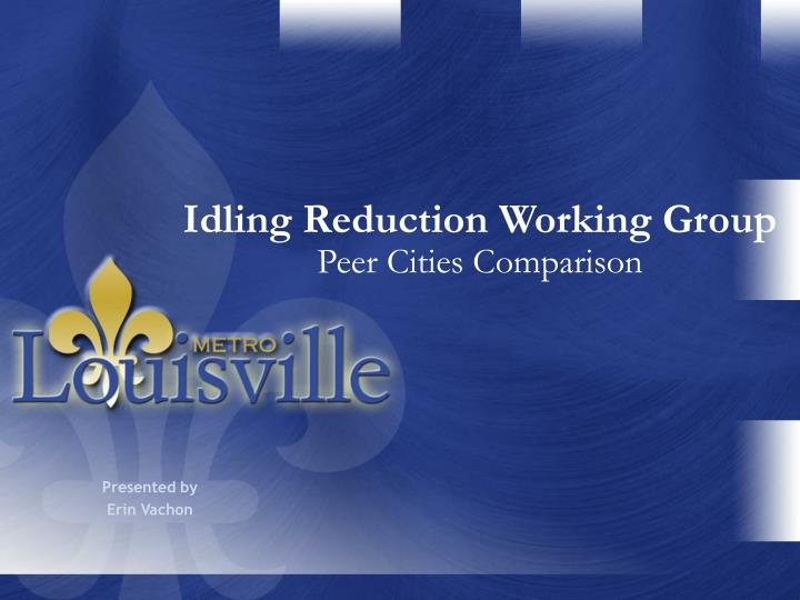 Idling reduction working group peer cities comparison