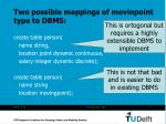 two possible mappings of movinpoint type to dbms