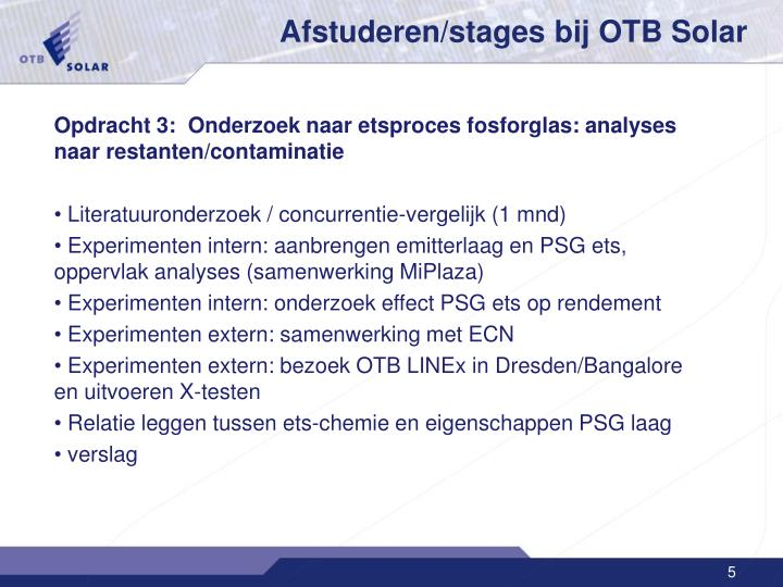 Afstuderen/stages bij OTB Solar