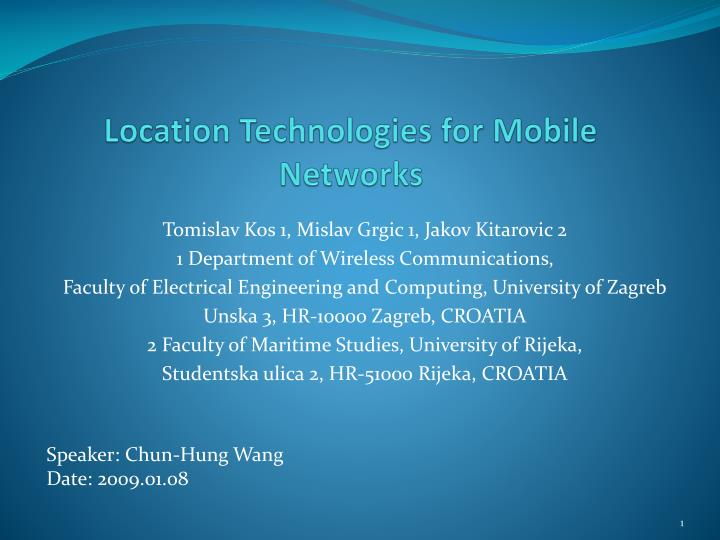 location technologies for mobile networks