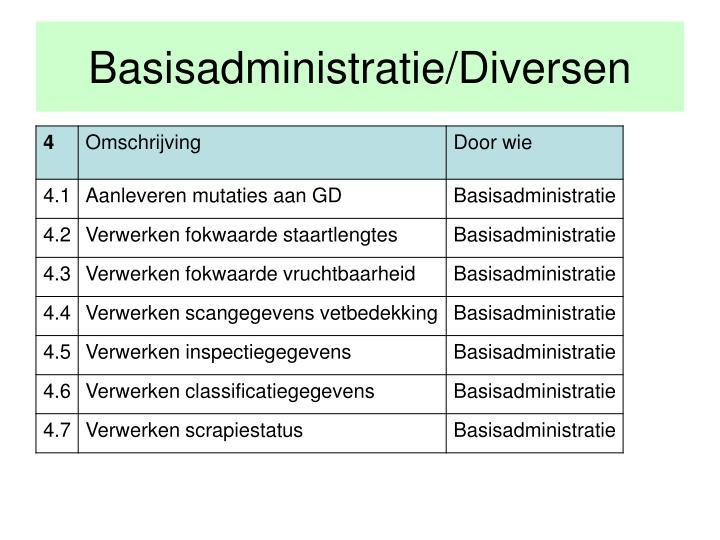 Basisadministratie/Diversen