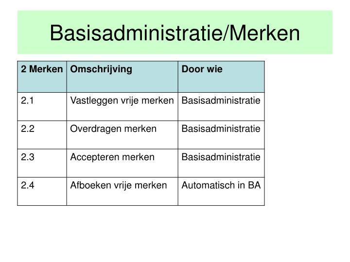 Basisadministratie/Merken