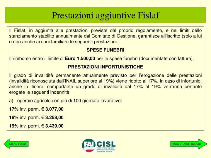 Prestazioni aggiuntive Fislaf